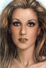 Dibujo a lapiz Celine Dion