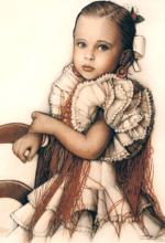 Dibujo a lapiz niña andaluza
