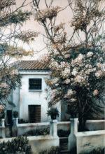 Casa de pueblo pintada al oleo
