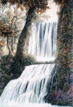 Cascada de rio pintada al oleo
