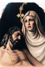 pintura al oleo de la Virgen con Jesucristo