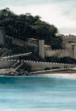 Fortaleza junto al mar pintada al oleo
