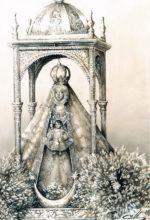 Cuadro al oleo de la virgen en procesión