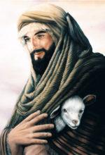 Pintura al oleo de pastor con oveja